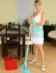 Hot  Blond Haired  Cougar Does Housework and Fucks Her Broom