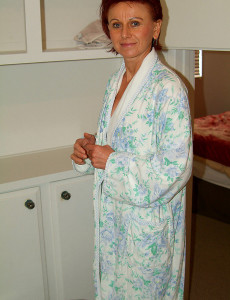 In bathrobe milf