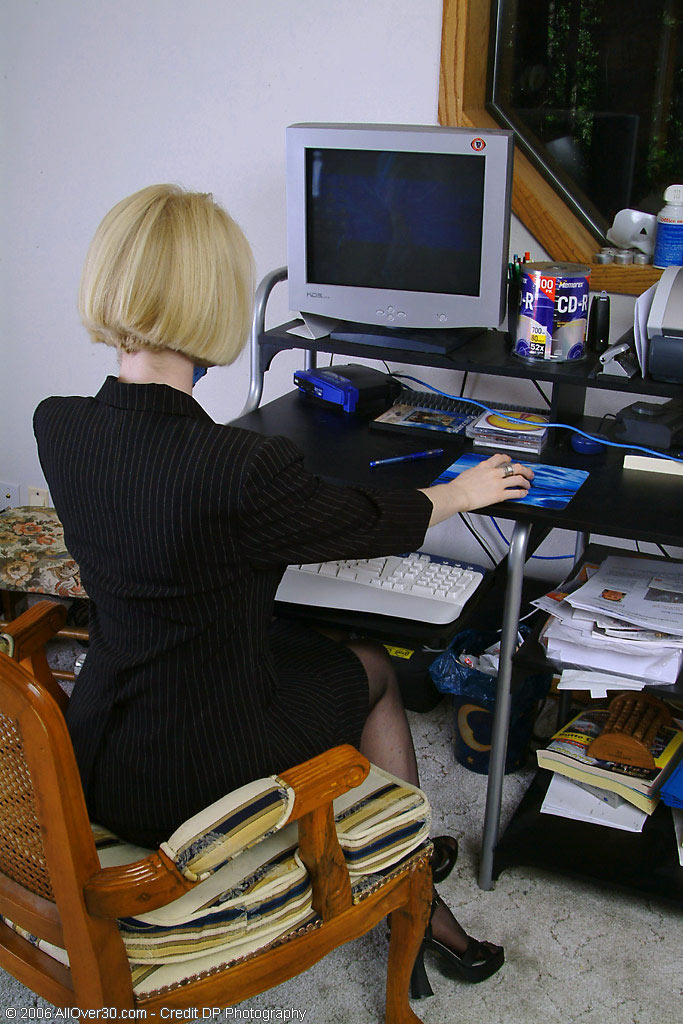 Blond Haired Office  Mom  Takes off and  Opens Her Ivory Gams