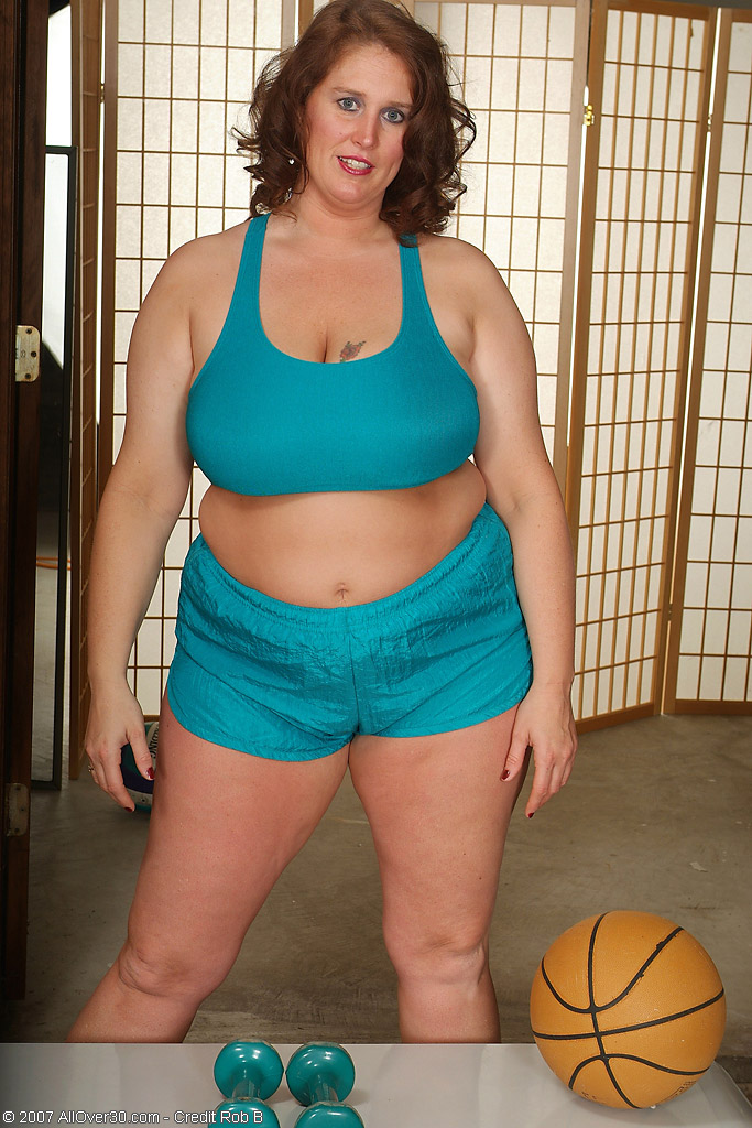 Huge Boobs on This Redheaded  Mom Working out in Here 