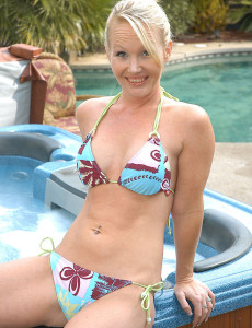 Blond Haired  Cougar Does a Tiny Skinny Dipping in Her Back Yard