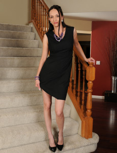 Hot Long Haired  Brown Haired Beth M  Opens Her Gams Broad on the Stairs