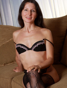 Thin 41 Year Old  Mom Carment T Preads Her Lacey Gams Broad Here