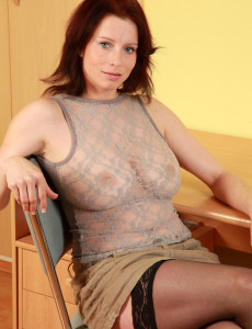 Redheaded and  Big Breasted  Older Carol from Toying Her Massive  Cunt