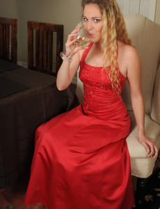 Elegant and  Blond Haired Daisy L in and out of a  Hot Red Dress
