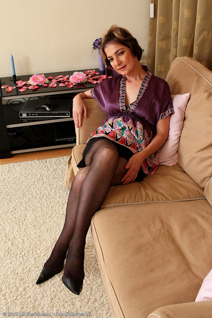 42 Year Old Eszti in Tights  Opening Up Her Fur Covered  Cunt Broad for You