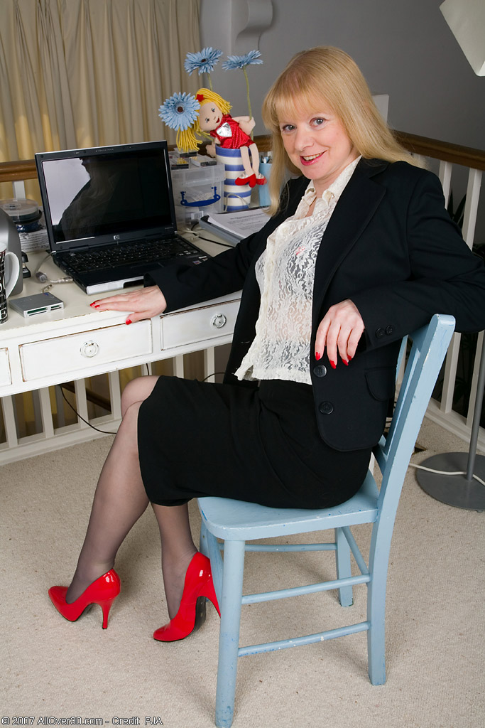 52 Year Old Amanda Displays Her Perfect Ivory Skin in the Office