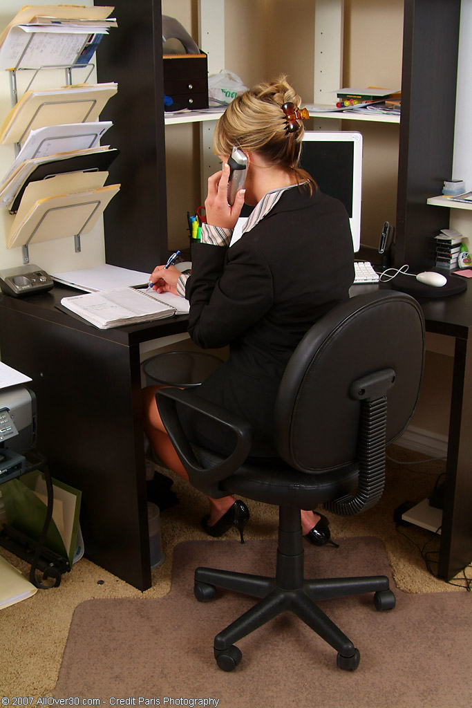 Older Babe Secretary Gets Herself off While on the Phone with a Client