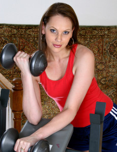 After Working with Weights This Hot  Cougar Works on Her Muscly Box