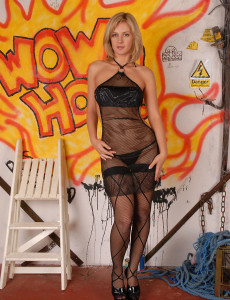 Blond  Mom Sweetheart Laurita Poses and Spread in Front of Firey Grafitti