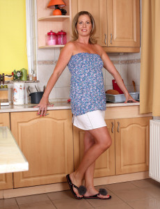 40 Year Old Laura G Works Up a  Nude Lather While Fooling in the Kitchen
