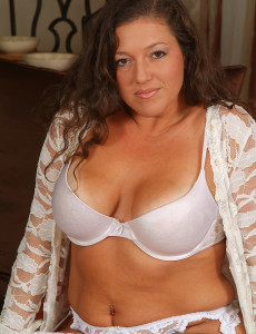 Brown Haired  Mom with Strenuous Jugs Poses in Her  Hot White Undies