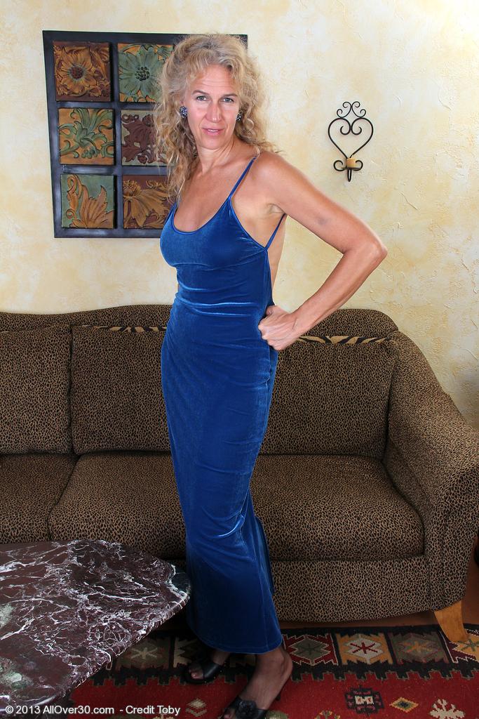 Super  Super  Super Horny and Elegant 54 Year Old Sabrina P Slide out of Her Blue Dress