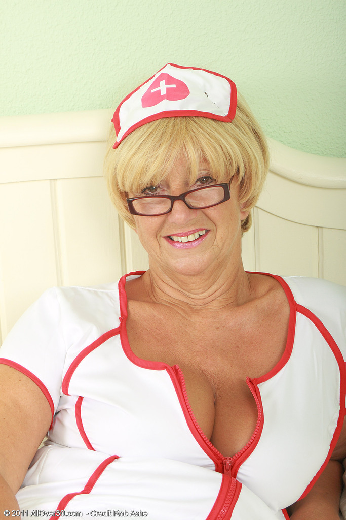 62 Year Old Samantha from  Milfs30 Plays a  Super  Super  Super Insatiable Nurse in Here           Pear Gag