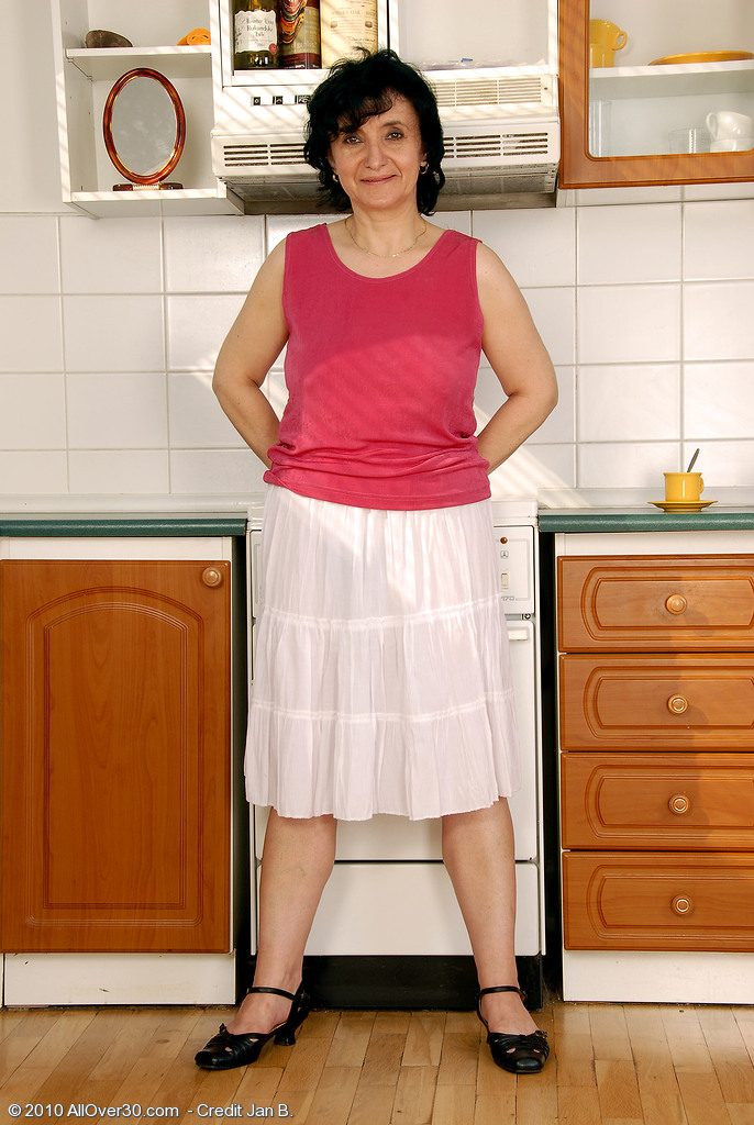 52 Year Old Sandra D Shows off Her Full Bush and Jugs in Her Kitchen