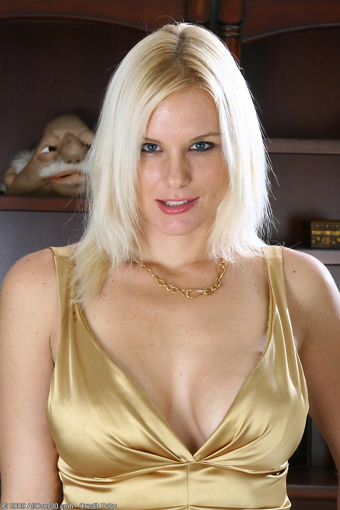 Elegant  Blond  Cougar Slovanna Glides off Her Dress to Show off Her Boobies