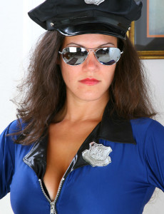 Brown Haired  Mom in a Police Uniform  Opens Her Long  Older Stunner Gams