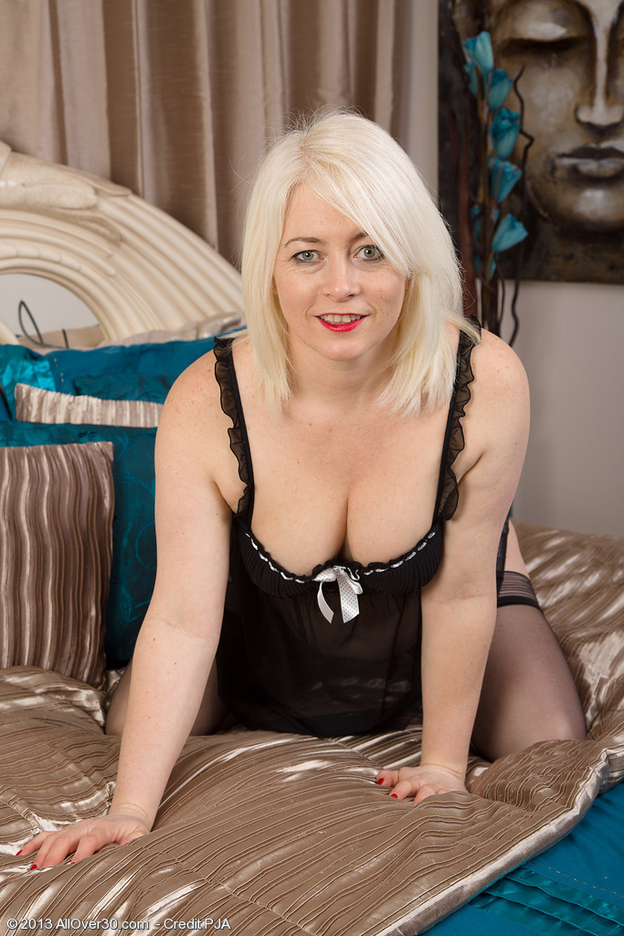 Blond Haired 43 Year Old Amber Jewell Looking Fine in and out of Her Ligerie