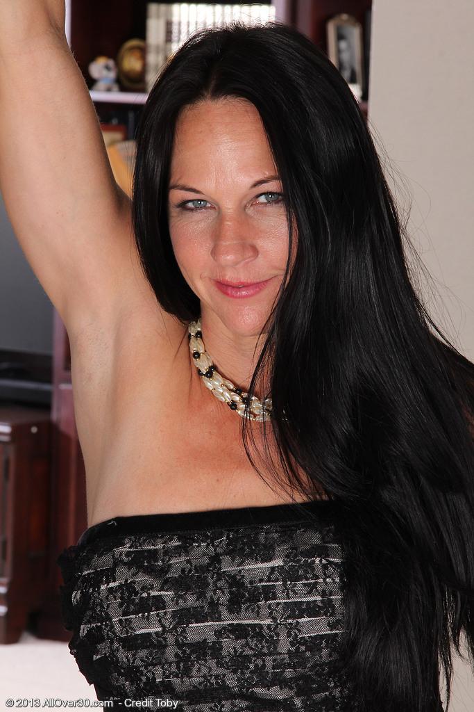 Elegant and 43 Year Old Kiera Blue Peels off Her Sexy Ebony Panties