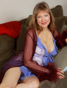 Crazy  Blond Haired 52 Year Old Lilli Looking Hot As Hell in Her Slinky Blue Lace