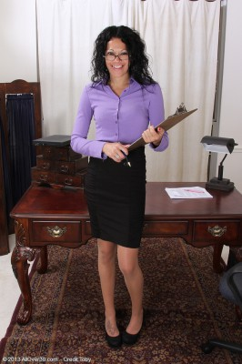 Brown Haired and Long Legged Naira Smith Spurts Her Clipboard to Spread