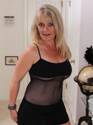 Kinky  Blond 48 Year Old Sherri Donovan in Fishnet Panties Posing