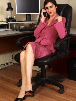 33 Year Old Office Assistant Abbey  Opening Up Wide in Her Office Chair