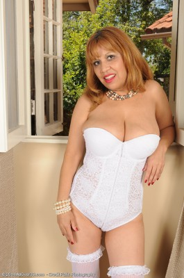 47 Year Old Marissa Pops Her Gigantic Bra-stuffers out of Her White Knickers