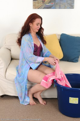 Redheaded Plus 42 Year Old Sable Plays with Her  Hoo Ha After Laundry