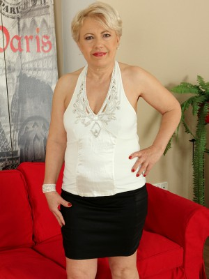 58 Year Old Mimi Gliding off Her Outfit Plus Opening Her  Older Gams