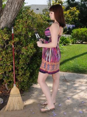 Giggly Addie Juniper  Opens Her Adult Longer Gams in the Garden