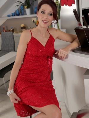 37 Year Old  Slender Beanne Slides off Her Elegant Red Dress and  Opens