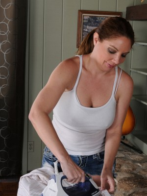 39 Year Old Abd  Big Breasted Kiki D'aire Glides off the Damsel Jeans Cut-offs for You Personally