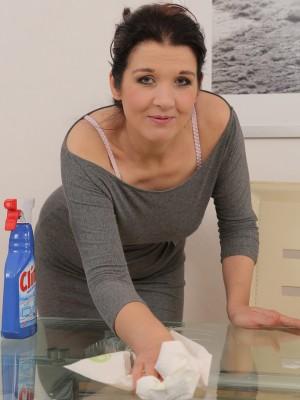 38 Year Old Fernanda Jerson Gets Her Big Knockers Wet regarding Glass Table