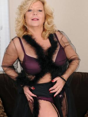 52 Year Old Karen Summer from  Milfs30 Glides off the Female Purple  Undies