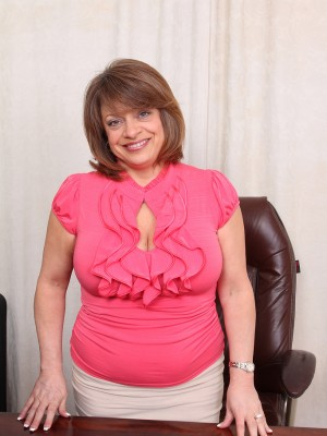 Huge-chested  Brown Haired Penny Pussies  Opens Open in Her Brown Office Chair