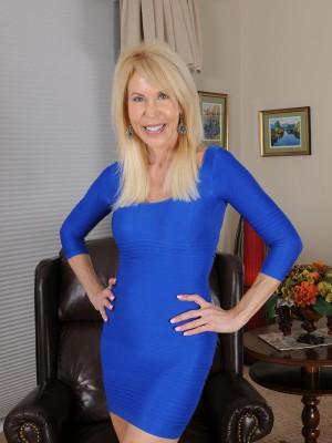 Elegant 60 Yr Old Erica Lauren Slip through the Woman Smooth Blue Dress