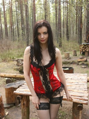 Ebony Haired Helena Black Struts Her Stuff  Nude Outdors Within the Park