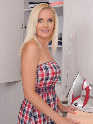 Gorgeous  Blond Haired Mummy Lilly Peterson  Takes off and Stretches After Housework