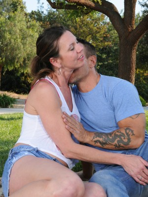 Super Horny  Older Jizzabelle Gets Some Outdoor Activity Along with Her Hung Man Buddy