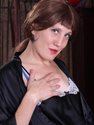 Elegant Babe Katrina Mathews Slides through the girl Velvety Nightie and Shows off