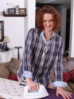 Older Babe Roxanne Ironing the Laundry