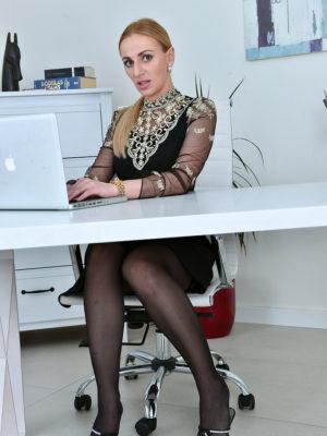Leggy  Blond Haired Afina Kisser Shows Her Secretary Style